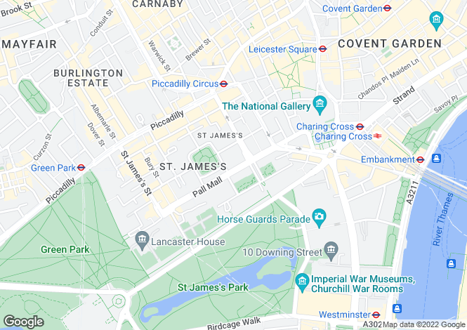 Map for Pall Mall, St James', London