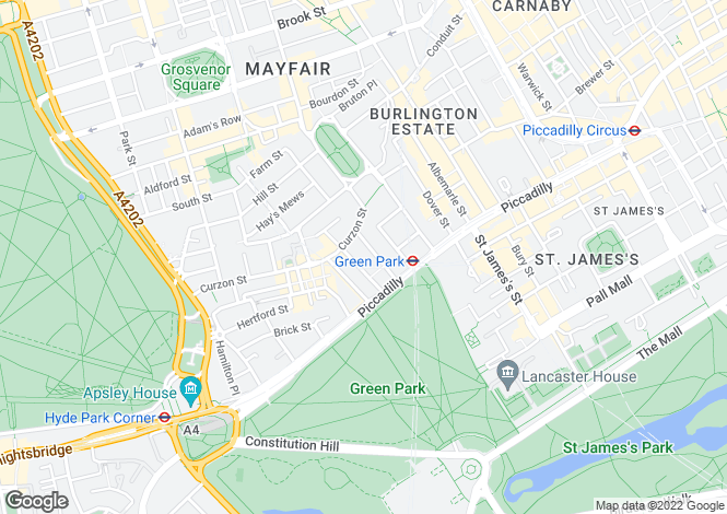Map for Bolton Street, Mayfair, W1J