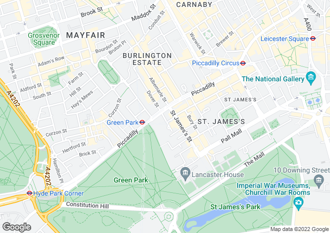 Map for Arlington Street, Mayfair