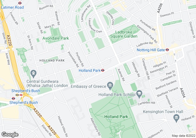 Map for Lansdowne Mews, Notting Hill, Holland Park, London, W11