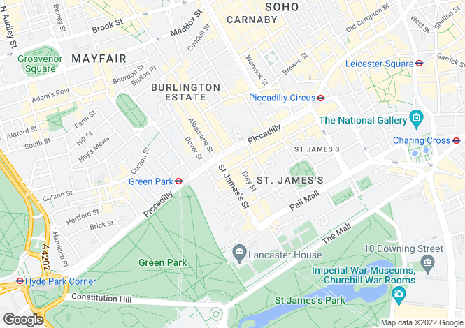 Map for Jermyn Street, St James's, London, SW1Y