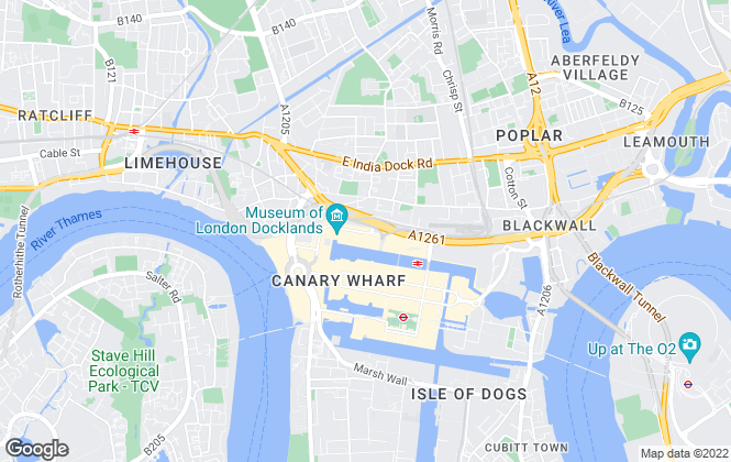 Map for Chase Evans, Canary Wharf