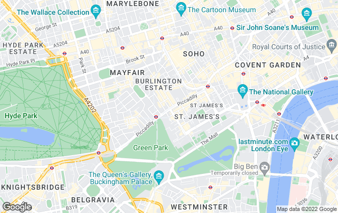 Map for Astons, Mayfair