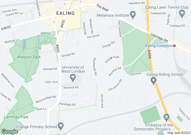 Map for Kenilworth Road, Ealing, W5