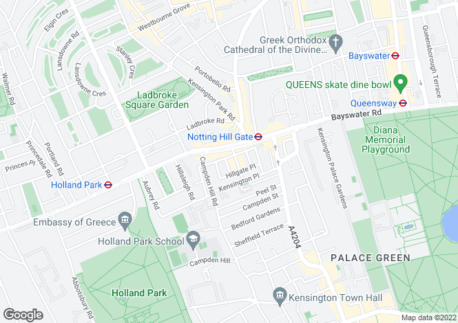 Map for Uxbridge Street, London, W8