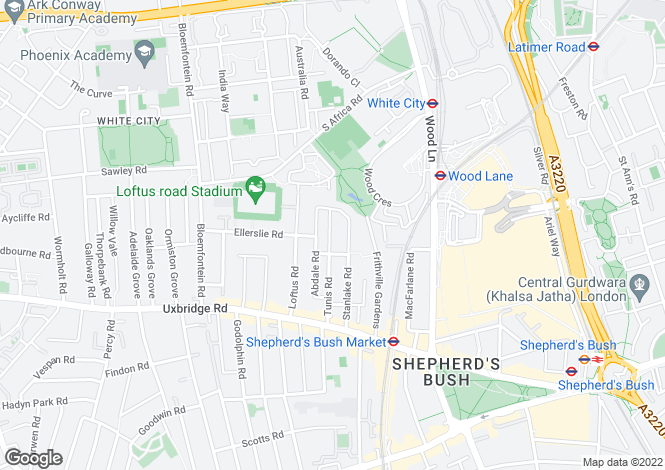 Map for Tunis Road, Shepherds Bush
