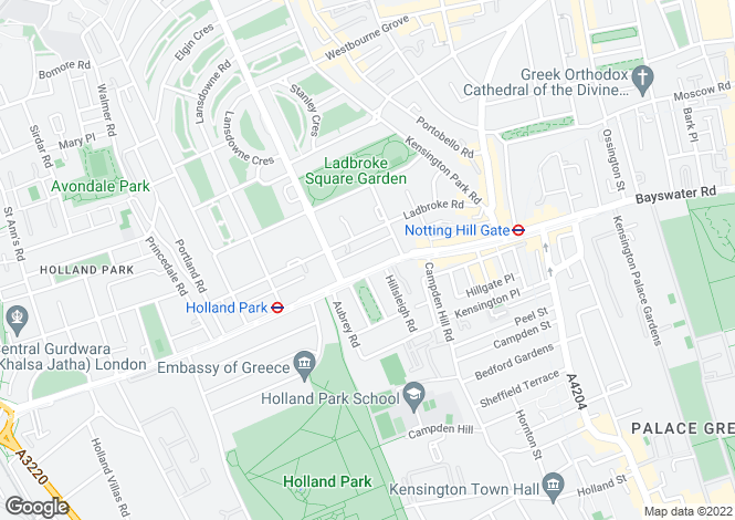 Map for Holland Park Avenue, London, W11