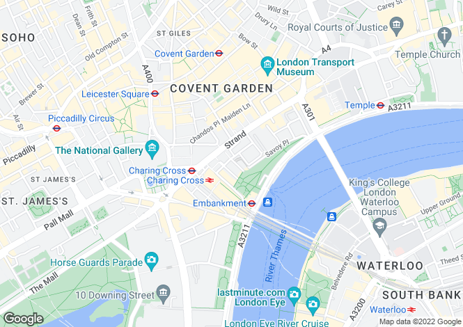 Map for John Adam Street, Covent Garden, WC2N