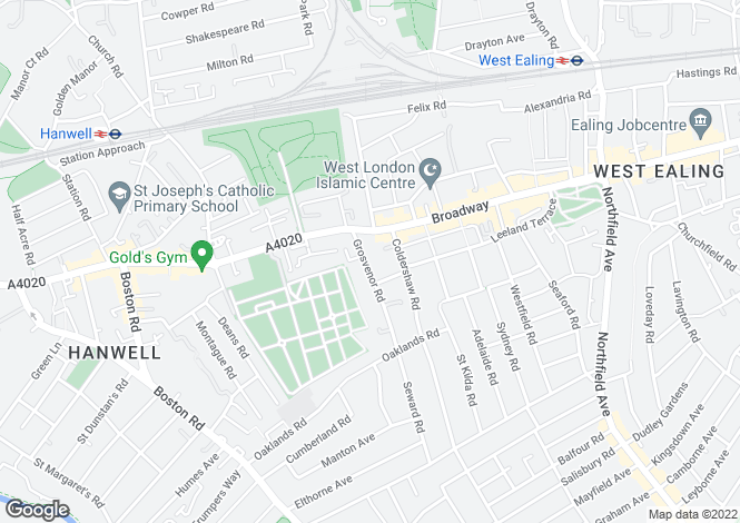 Map for Grosvenor Road, Hanwell, London, W7