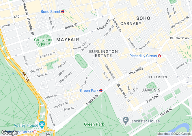 Map for Hay Hill, London, W1J