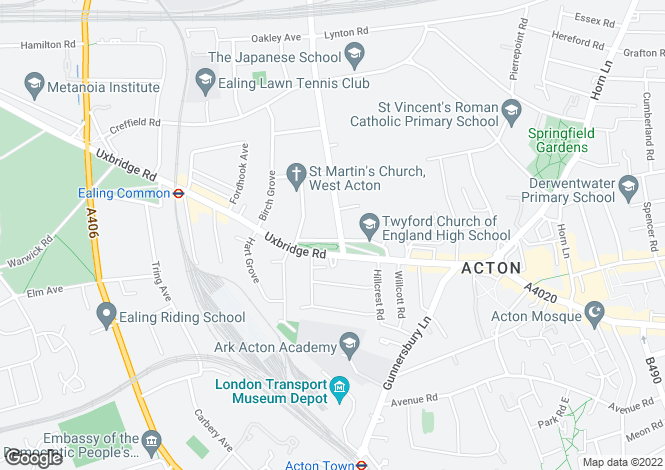 Map for Twyford Crescent, Ealing Common, W3
