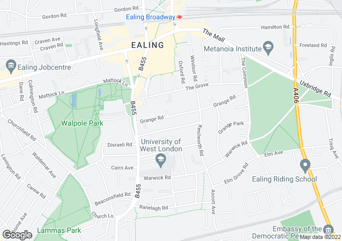 Map for Grange Road, Ealing Broadway