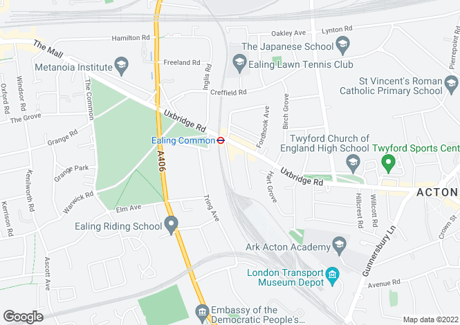 Map for Granville Gardens, Ealing, Ealing Common