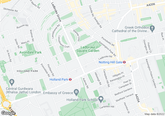 Map for Ladbroke Square, Notting Hill, W11