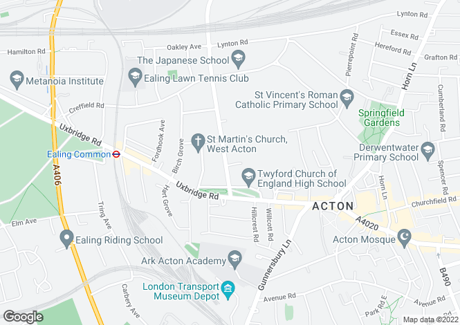 Map for Twyford Avenue, Acton
