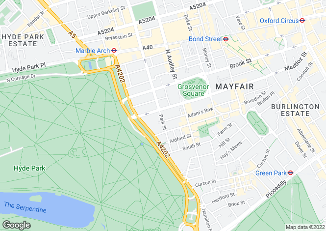 Map for Park Street, Mayfair, W1