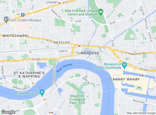 Map for Franklyn James, Limehouse and Wapping