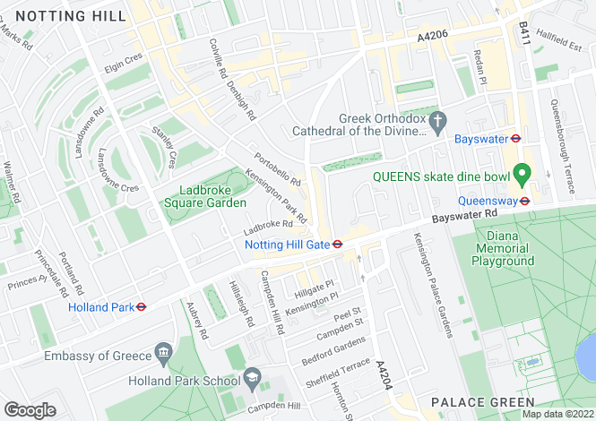 Map for Kensington Park Road, London, W11 3BU