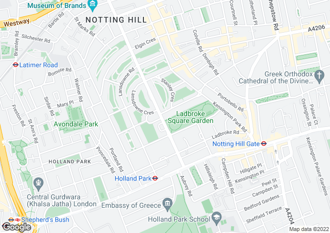 Map for Kensington Park Gardens, Notting Hill Gate, W11