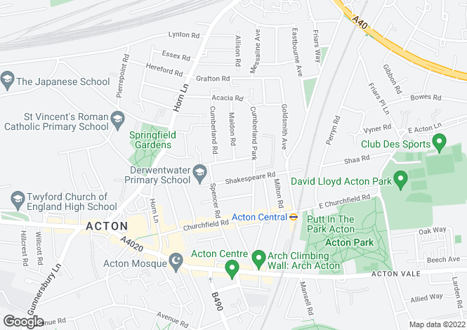 Map for Woodhurst Road, Acton