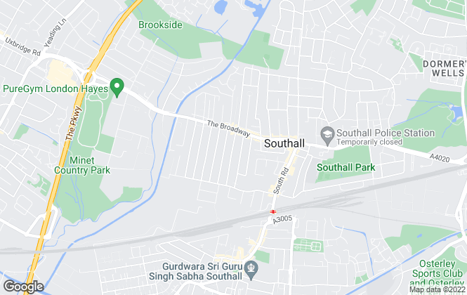 Map for Parkfields Estates, Southall