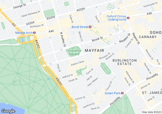 Map for Grosvenor Square, Mayfair, London, W1K