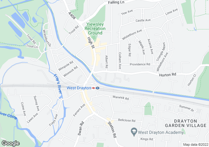 Map for 12a Horton Road, West Drayton, Middlesex