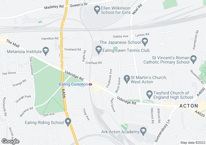 Map for Fordhook Avenue, Ealing, London, W5
