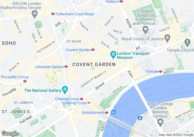 Map for The Henrietta, Covent Garden, London WC2