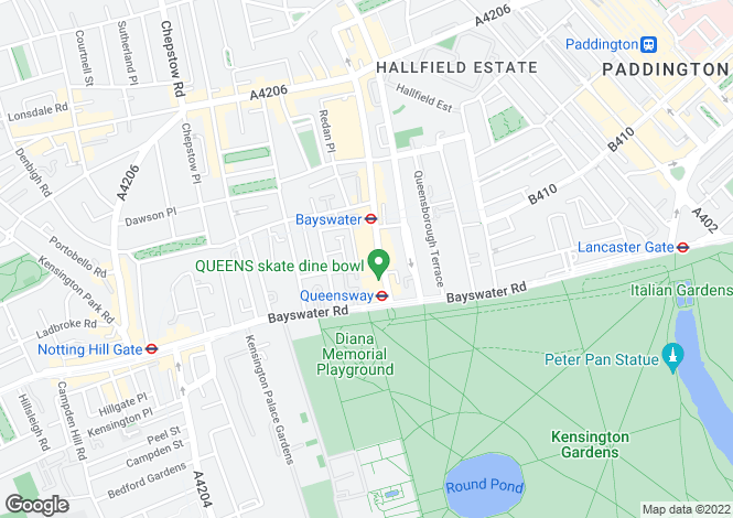 Map for Queens Court, Bayswater, London, W2
