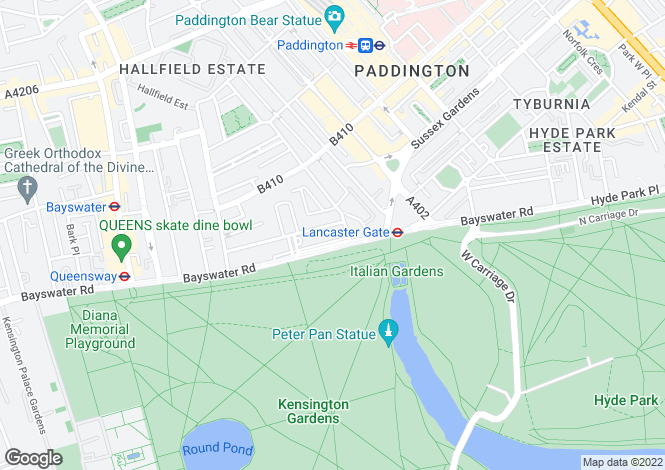 Map for Lancaster Parkside, London. W2