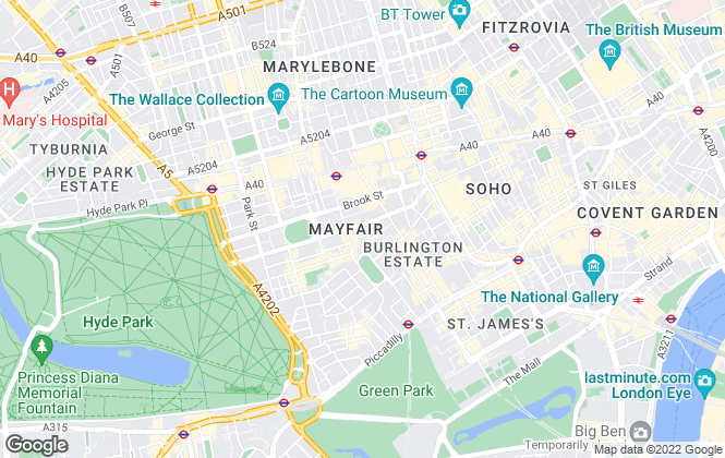 Map for Dexters, Mayfair