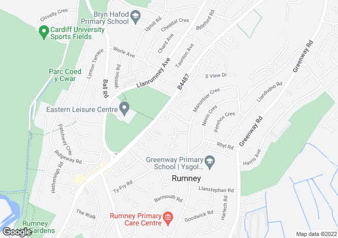 Map for Monkstone Court, Rumney, Cardiff
