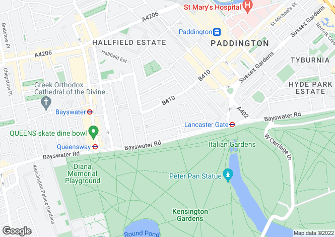 Map for Lancaster Gate, Bayswater, W2
