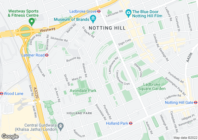 Map for Elgin Crescent, Notting Hill, W11