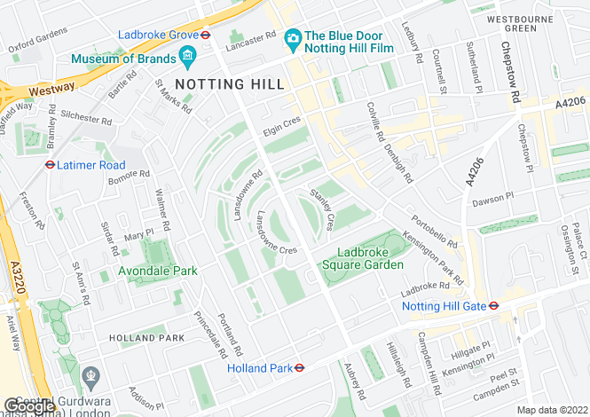 Map for Ladbroke Grove, Notting Hill