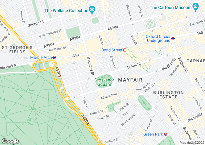Map for Grosvenor Square, Mayfair, London
