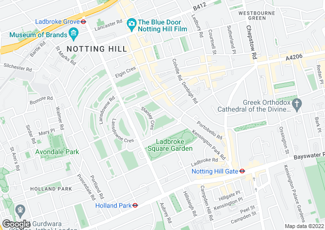 Map for Stanley Gardens, Notting Hill W11