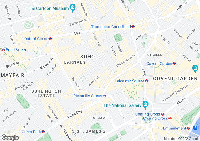 Map for Peter Street, Soho, London, W1F