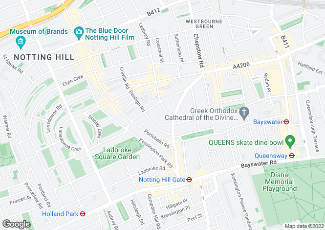 Map for Notting Hill, Notting Hill, W11
