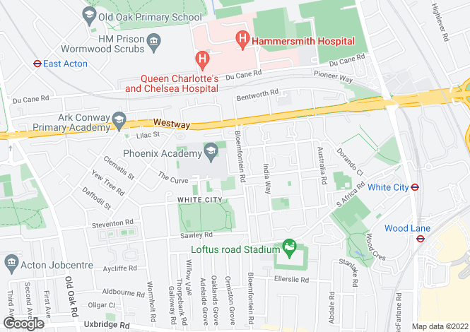 Map for Bloemfontein Road, Shepherds Bush, W12
