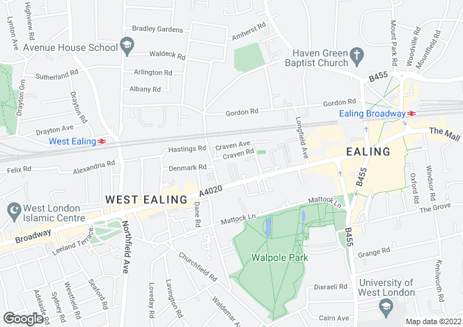 Map for Craven Road, Ealing