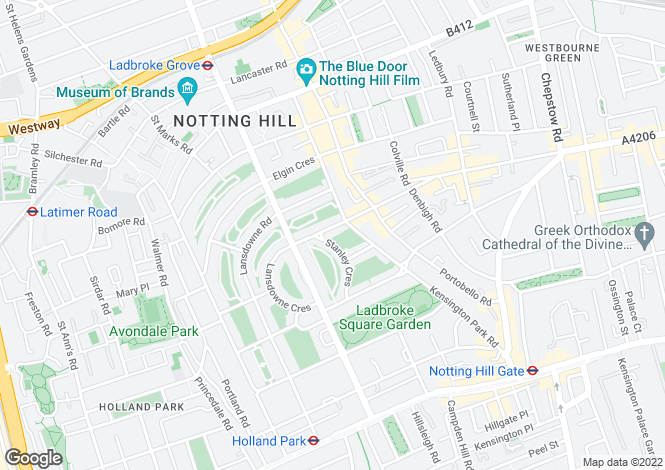 Map for Ladbroke Gardens, Notting Hill