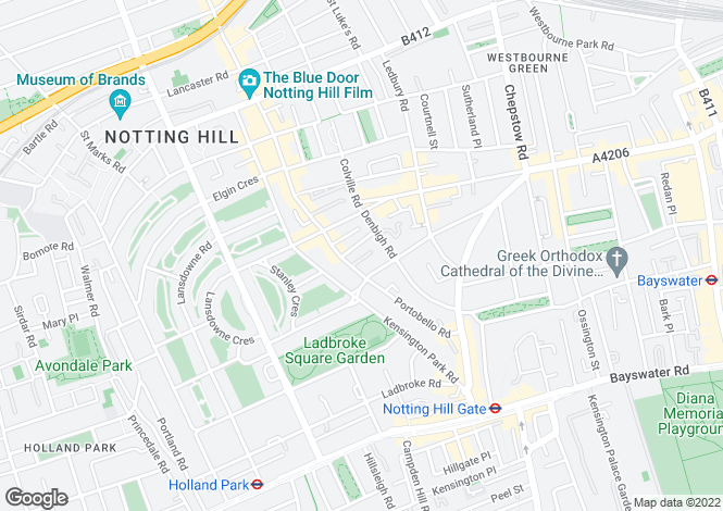 Map for Denbigh Close, London, W11