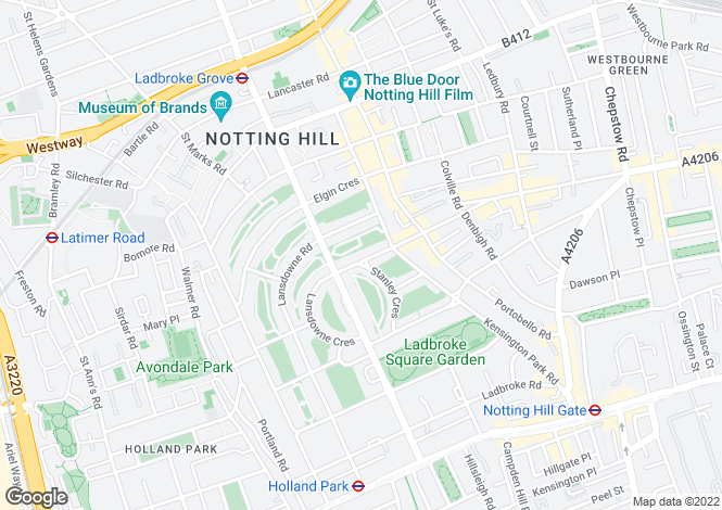 Map for Ladbroke Gardens, Notting Hill, London W11