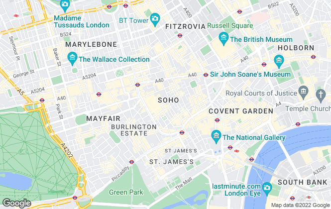 Map for Greater London Properties, Soho