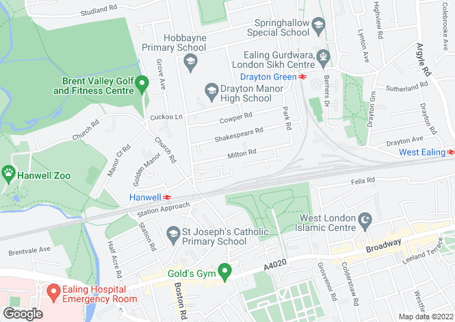 Map for Hanwell, W7