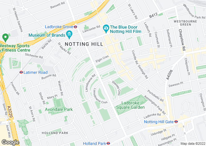 Map for Arundel Gardens, Notting Hill, London, W11