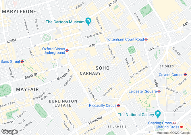 Map for Marshall Street, Soho, W1F