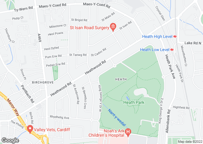 Map for King George V Drive West, Heath